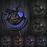 reloj de pared Golden Retriever Reloj de pared decorativo Reloj de pared hecho de disco musical, con corazones de amor, disco de vinilo Golden Retriever, regalo del dueño de los perros cachorros