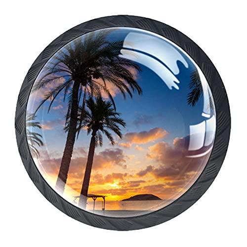Perillas de gabinete,tiradores,paquete de 4,perilla de cocina,tocador,cajón,puerta,Mallorca Sunrise en Magaluf Palm Anova Beach ,Cristal Forma redonda