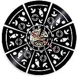 Reloj de pared de vinilo Pepperoni Pizza Wall Art moderno reloj de pared de seta pizza disco de vinilo reloj de pared