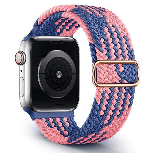 Jiamus Correa trenzada Solo Loop compatible con Apple Watch, 38 mm, 40 mm, 42 mm, 44 mm, elástica, elástica, para iWatch Series 6/SE/5/4/3/2, hombre y mujer, Blue Powder-A (patentada)