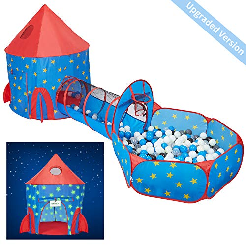 Buy HAN-MM 3pc Play Tent Ball Pit with Tunnel Stars Glow in The Dark, Tunnel & Ball Pit Basketball Rocket Ship Astronaut Hoop Toys with Message Signs for Indoor Outdoor Camping