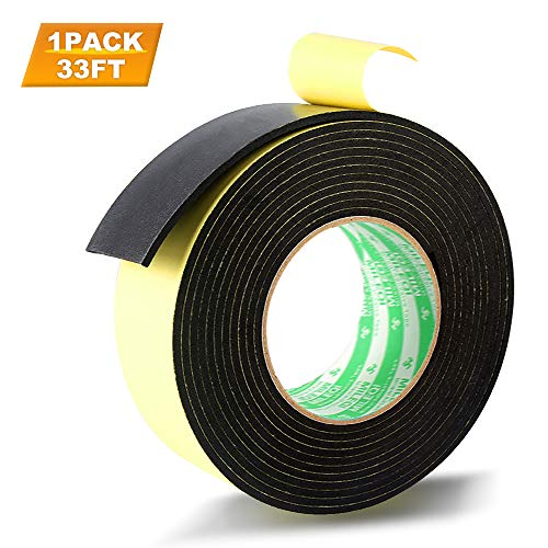 Foam Weather stripping Insulation Tape Adhesive-For door seal, Windows Waterproof, Plumbing, HVAC, Pipes, Cooling, Air Conditioning, Automotive Weather Strip, Craft Ta (1 Roll, 33 Ft- 1/8' x 2' x 33')