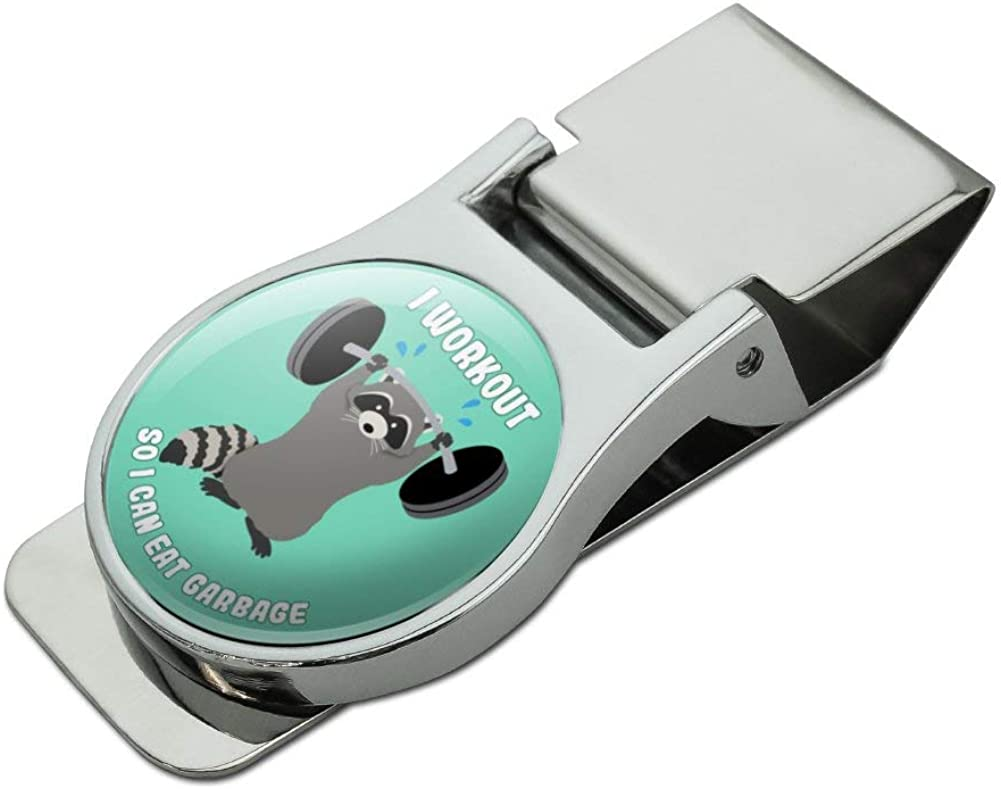 I Workout So I Can Eat Garbage Raccoon Trash Panda Funny Satin Chrome Plated Metal Money Clip
