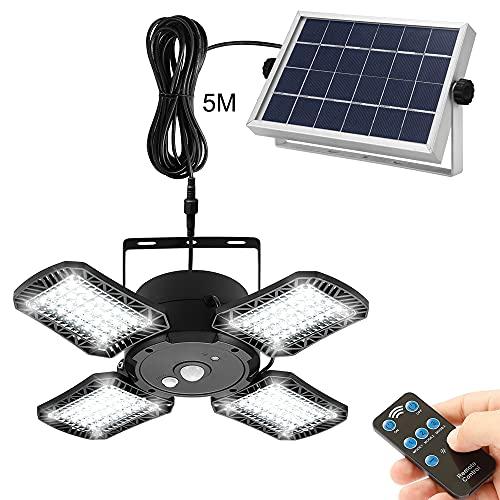 Solarlampen für Außen Innen,128 LED Solarleuchte mit Bewegungsmelder IP65 Wasserdichte 1000 lm Solar Wandleuchte mit 5M Kabel,120°Beleuchtungswinkel 3 Modi...