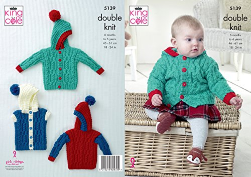 King Cole Baby Double Knitting Pattern Cabled Hooded Jacket Sweater amp Gilet 5139