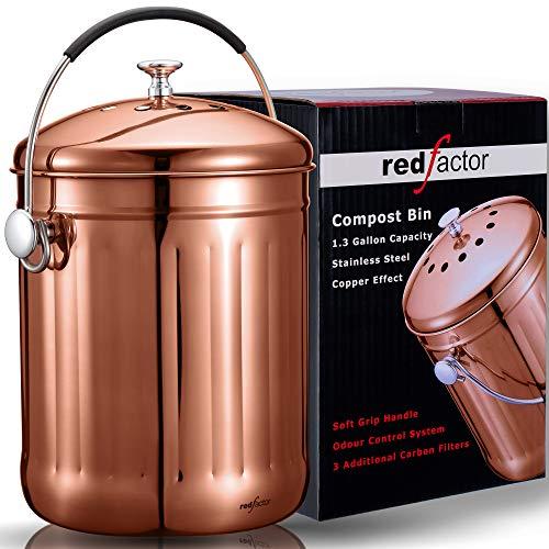 RED FACTOR Premium Kompostbehälter Küche Aus Edelstahl Geruchlos - Bio Mülleimer - Inklusive 3 Kostenlosen Aktivkohlefiltern (Poliertes Kupfer, 5 Liter)