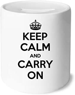 Quote Keep Calm And Carry On Black Money Box Saving Banks Ceramic Coin Case Kids Adults