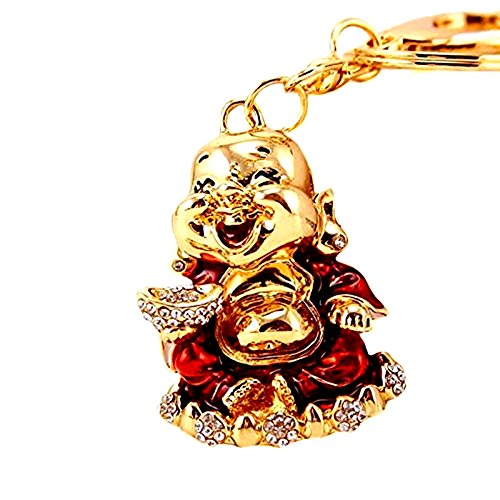 Betterdecor Feng Shui Laughing Happy Money Buddha Key Chain for Wealth Luck (with a Gift Pouch)