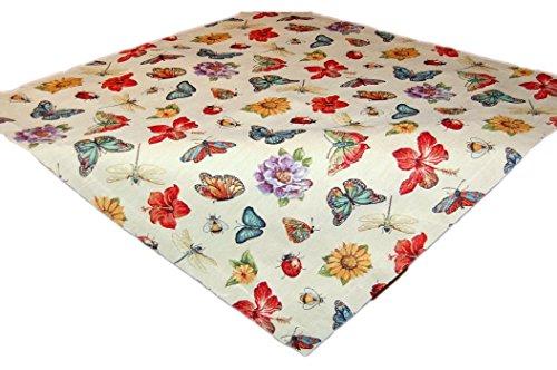 Espamira Tischdecke 85x85 cm Jacquard Gobelin Mitteldecke Schmetterling Blüte farbig gewebt Sommer