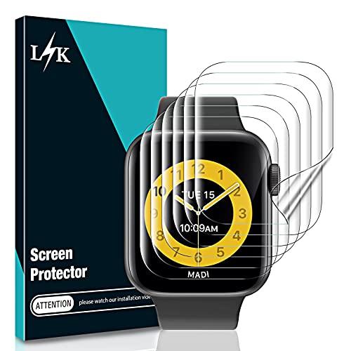 LϟK 6 Pezzi TPU Pellicola Protettiva per Apple Watch Series 7 45mm - Senza Bolle Trasparente HD Schermo Protettivo con Facile Kit D'Installazione