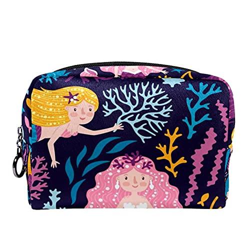 Kompakte Kosmetiktasche Schminktasche Geldbörse, Meerjungfrau Wal Korallen Algen