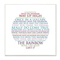 The Kids Room by Stupell Somewhere Over The Rainbow Circle Typog Wall Plaque Art [並行輸入品]