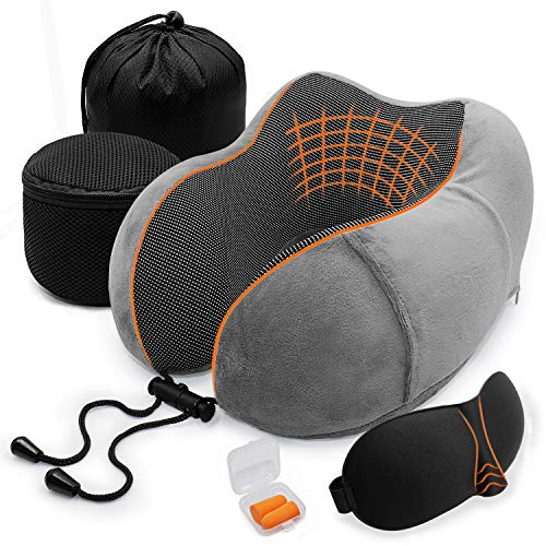 Travel Pillow, Memory Foam Neck Pillow for Airplanes, Car or Office Sleeping Napping, U Shaped Designed Comfort Neck Chin Head Support Cushion, 2 Storage Bag, Eye Mask, Earplugs Included(Grey)