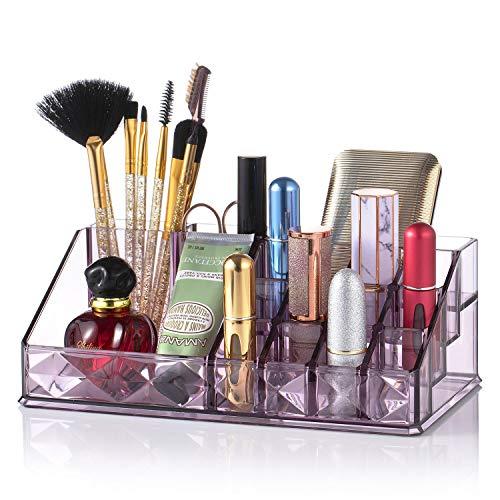 Jolintek Organizador de Maquillaje, Caja Maquillaje Organizador Acrílico Organizador Maquillaje Organizador Escritorio Maquillaje Caja Cosméticos Estante de Maquillajes Joyería Organizador, Pú