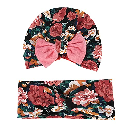 EOZY Baby Flower Bow Knot Turban Hat Newborn Cotton Beanie Head Wrap Type6