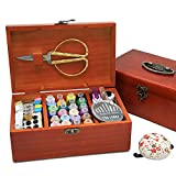 Wooden Sewing Basket with Accesssories Sewing kit Compartments, 8.5 x 5.3 x...