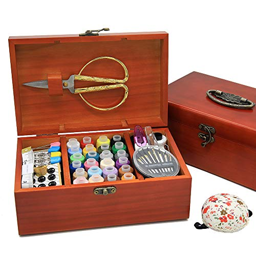 Wooden Sewing Basket with Accesssories Sewing kit Compartments, 8.5 x 5.3 x 3Inches