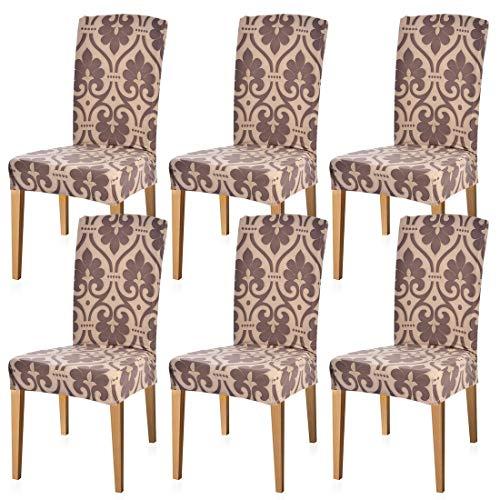 Godagoda set van 6 stoelhoezen stretch stoelbekleding decoratie stoelbekleding voor universele pasvorm elastaan