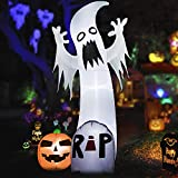 HOOJO 9 FT Halloween Inflatables Ghost with Pumpkin and Tumbstone Outdoor Halloween Decorations with Build-in LEDs, Blow up Halloween Decorations For Yard, Garden, and Lawn