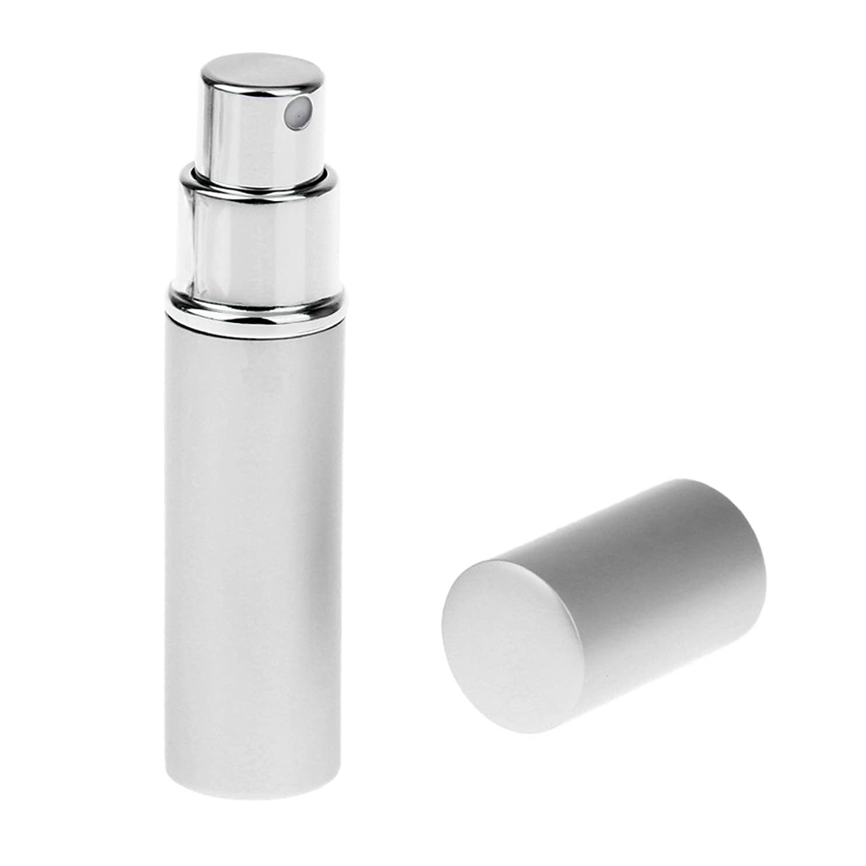 針肌シェルターKesoto 男女兼用 詰め替え可能 ポータブル アルミ ガラス製 香水アトマイザー 空ボトル ポンプ 全4色 - 銀色