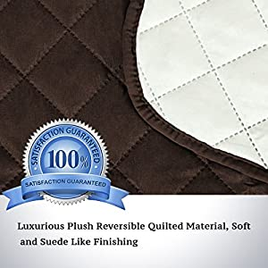 Quilted Quick Drape Reversible Furniture Cover / Prevent Water Protector for Sofa, 75 inch X 90 inch (Love Seat - Brown/Beige)