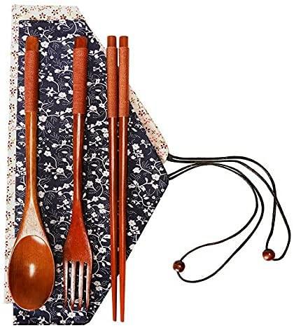 Haifei - Vajilla de madera para almuerzo, 3 piezas, cuchara, tenedor, baquetas, estilo japonés y coreano (marrón)