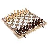 Juego de ajedrez de madera, ajedrez de madera magnético plegable 3 en 1, juguete para niños adultos, aprendizaje de backgammon, juego de tablero de ajedrez de regalo para niños adultos, principiante