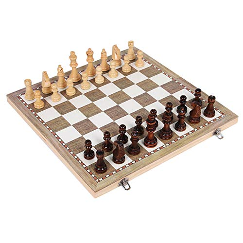 CALIDAKA 3 in 1 Foldable Wooden Chess Board Set, Wooden Chess Set, Best Travel Portable Folding Chess Board Game, Beginner Chess Set for Kids and Adults, Backgammon Gift