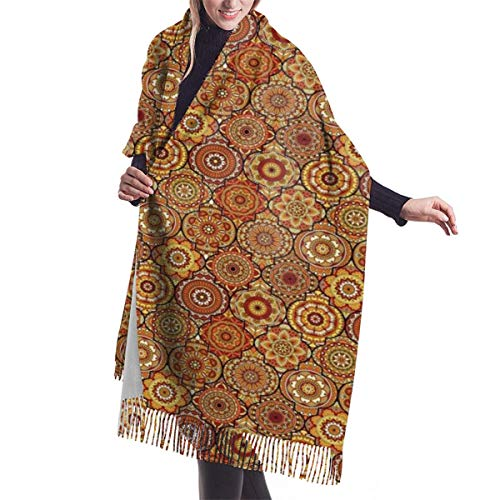 Women's Fall Classic Winter Scarf,Vintage Hand Drawn Style Ottoman Trellis Floral Motifs,Scarf Warm Soft Chunky Large Blanket Wrap Shawl Scarves