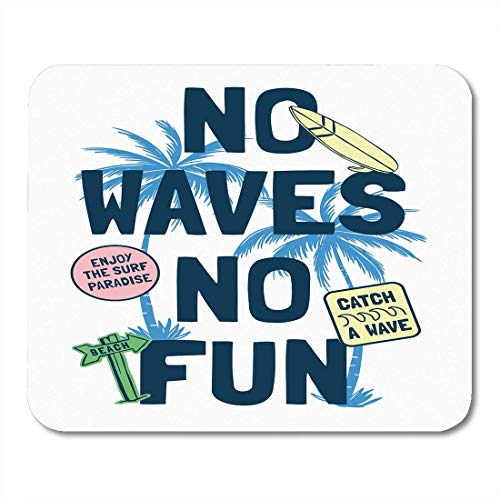 AOHOT Mauspads Beach Surfing Slogan Graphics and Patches Surf Fun Boy Badge Patch Mouse pad 9.5