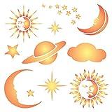 Celestial Pochoir–réutilisable Suns étoiles lunes Planet Saturn Cloud mural...
