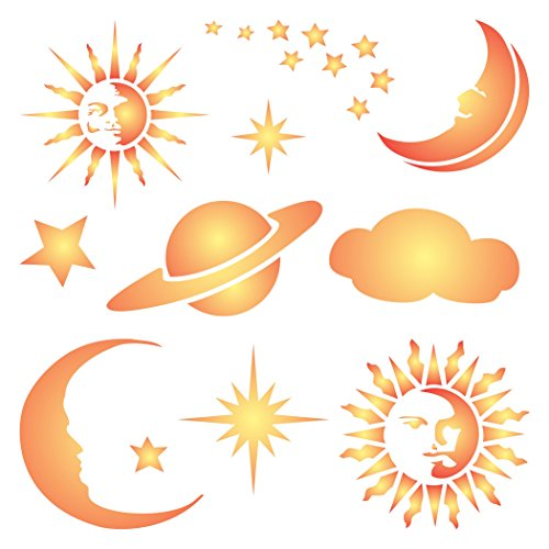 Celestial Schablone–wiederverwendbar Sonne Sterne Mond Planet Saturn Cloud Wand Schablone–Vorlage, auf Papier Projekte Scrapbook Tagebuch Wände Böden Stoff Möbel Glas Holz usw. Größe S