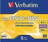 Verbatim 43229- 5 DVD+RW Matt Silver 4x, 4.7GB