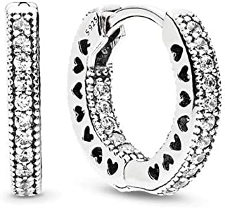 PANDORA Jewlery - Pavé Large and Mini Heart Hoop Earrings for Women in Sterling Silver with Clear Cubic Zirconia