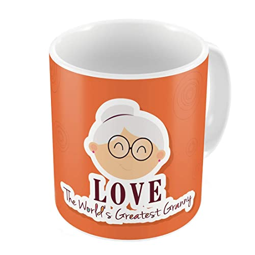 Indigifts Granny Love Quote Cute Grandmas Face Illustration Multi Coffee Mug 330 Ml