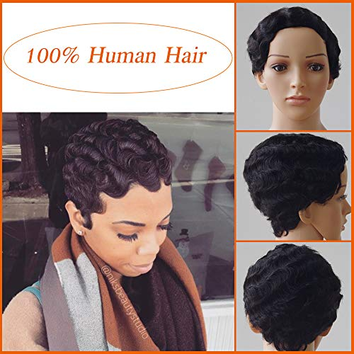 """Perruque Bresilienne Court 10""""/25cm Naturel Comme Vos Propres Cheveux [Noir Foncé]"""