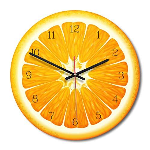 HETUI Dibujos Animados creativos Frutas Sala de Estar Reloj de Pared Decoración del hogar Reloj de Movimiento silencioso (Naranja)