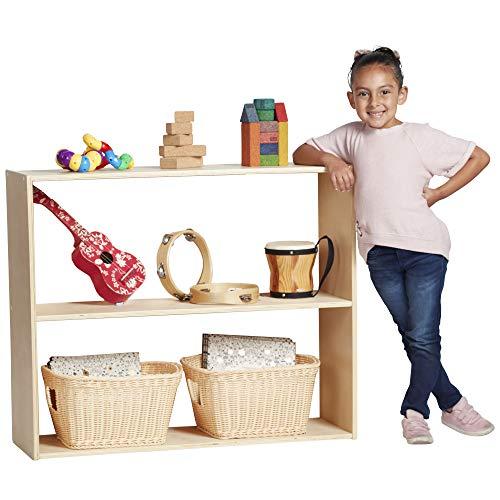 """ECR4Kids Birch Streamline 2-Shelf Storage Cabinet Without Back, Wood Book Shelf Organizer/Toy Storage for Kids, 30"""" Tall – Natural"""