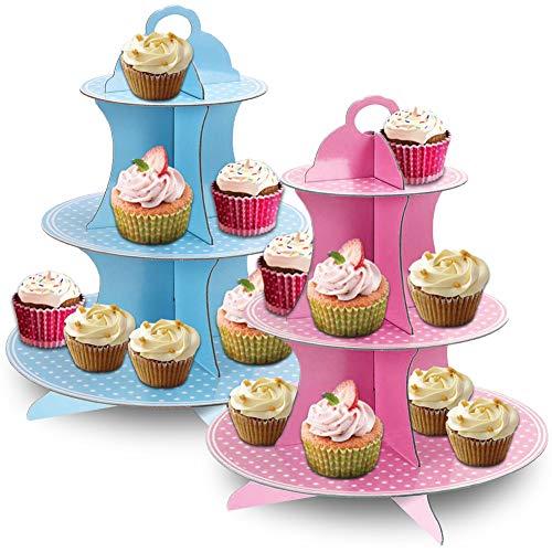 JINLE 2 Stück Tortenständer aus Karton Etagere 3 Etagen Servierständer Muffinständer, Blau und Rosa Tupfen Cupcake Ständer für Geburtstag Party, Kaffeetafel, Hochzeit, Babypartys - Wiederverwendbar