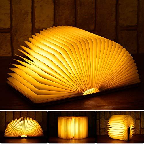 Lampada da Libro Ricaricabile, Myguru Luce Libro LED in Legno Magnetico Luci Notturne USB Pieghevole Light Book Lamp 5 Colori Mutevoli 880mAh per Camera Letto/Scrivania/Tavolo -12cm*9cm*2.5cm[Mini]