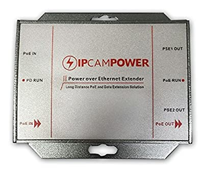 IPCamPower POE Powered 2 Port Switch & Network Cat5 Cat6 Midspan Cable Range Extender Passthrough Repeater for IP Cameras