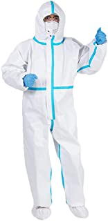 Disposable Protective Coverall Suit, Full Body Protective from Hazmat and Contamination, Non-Woven Clothing, Dustproof Purification Fabric Isolated Clothing Hood Coverall Suit (XL/175CM)