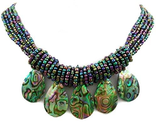 Swimmi Five Iridescent Natural Paua Abalone Pendant Beads Necklace Handmade Shell Jewelry CA401
