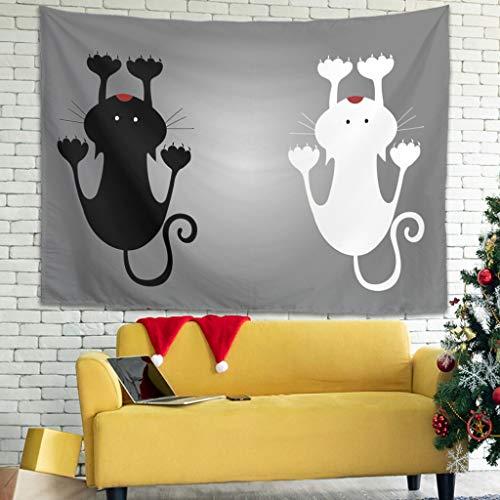 superyu Kitten - Colcha multicolor para colgar en la pared con decoración de pared para sala de estar, dormitorio, color blanco 231 x 149 cm