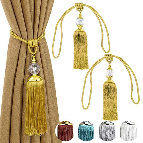Curtain Tiebacks Gold Tassel Curtain Tiebacks For Drapes Crystal Decorative Curtain Holdbacks Holder For Wall Curtain Tieback Hooks Tie Back For Curtain 2 Pack