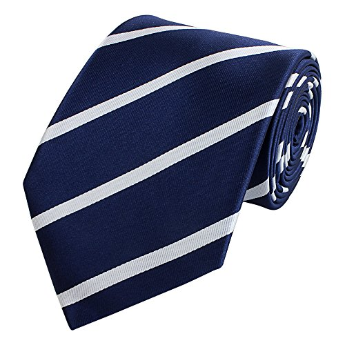 Fabio Farini - Elegante Herren Krawatte gestreift in 8cm Breite in verschiedenen Farben für jeden Anlass wie Hochzeit, Konfirmation, Abschlussball Dunkelblau Weiß