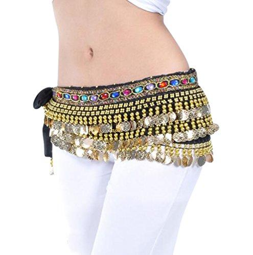 YuanDian Mujer coloreados Diamantes Monedas Danza del Vientre Espectáculo Bufanda Cinturon Cintura Cadena Falda Trajes De Belly Dance Negro