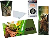 TRENDHAUS Star Wars Yoda 4-teiliges Geschenke Set - Frühstücks-/Schneide-Brettchen + 3D Trinkbecher + Textil Haftpin + 3D Lesezeichen