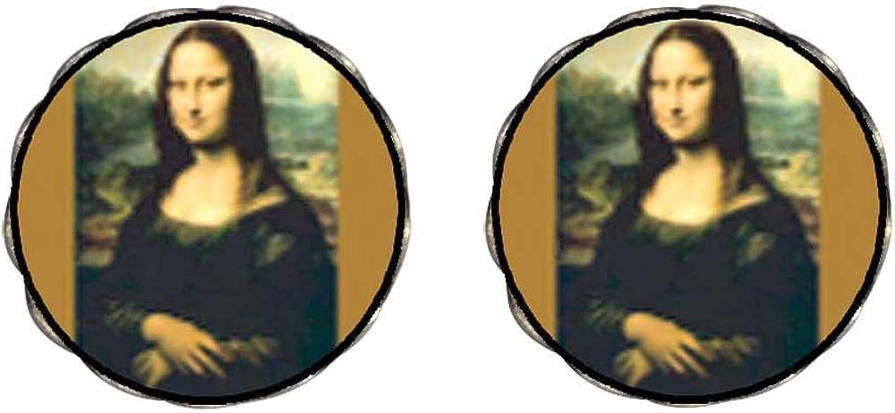GiftJewelryShop Bronze Retro Style Da Vinci's Art Mona Lisa Photo Clip On Earrings Flower Earrings #12