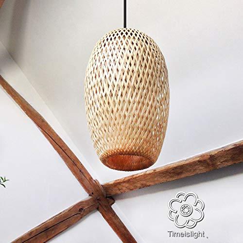 Suspension en bambou tressé double peau - Ø 20 cm x H 32 cm - lampe en bambou salon salle à manger chambre à coucher hôtel restaurant gastronomie salon de thé café bar club décoration cadeau naturel